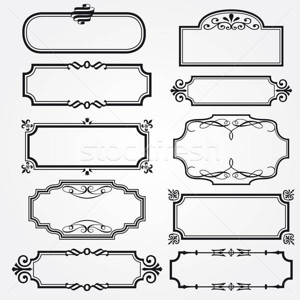 Stock photo: Vector Frame Set ornamental vintage decoration