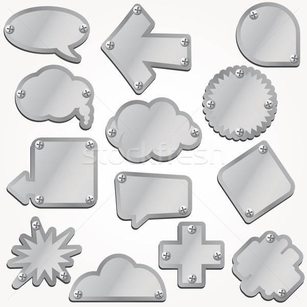 Vektor fém tányérok szett tányér hátterek Stock fotó © alvaroc