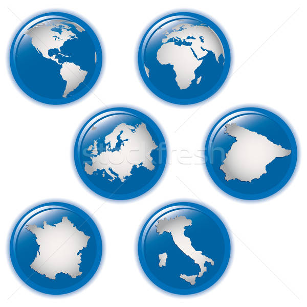 collection of earth globes icons and Italy, Spain, France and Europe, illustration. Vector format Stock photo © alvaroc