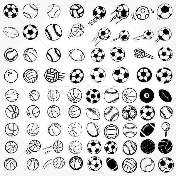 Set Ball sports icons symbols comic vector illustration Stock photo © alvaroc