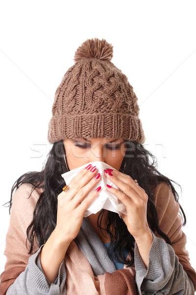 Сток-фото: женщину · холодно · изолированный · белый · девушки