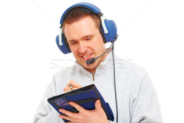 Pilot with headset and knee-pad Stock photo © Amaviael