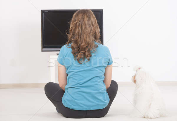 Woman and dog watching TV together Stock photo © Amaviael
