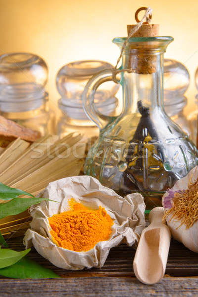 Tumeric powder and other herbs Stock photo © Amaviael
