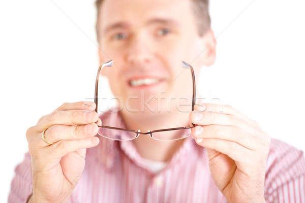 Optyk okulary mężczyzna okulista nowego Zdjęcia stock © Amaviael