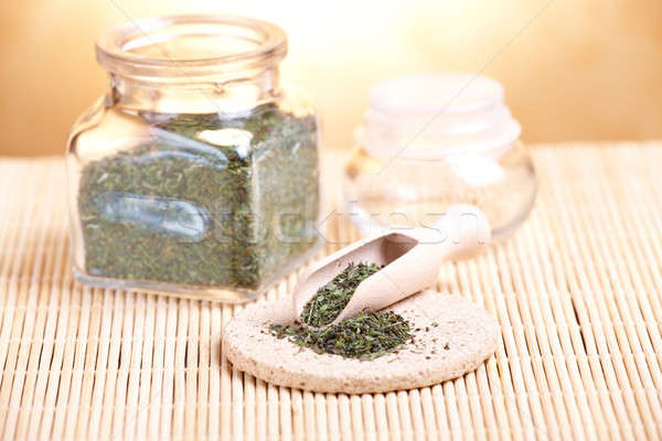 Secado salado pétalos petróleo cuchara de madera piedra Foto stock © Amaviael