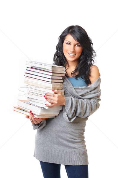 Belo mulher jovem livros branco retrato Foto stock © Amaviael