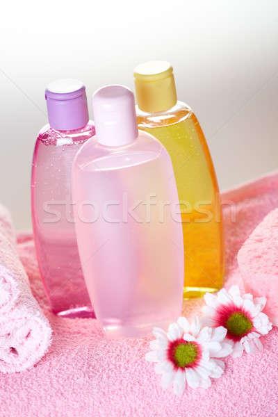 Banho cuidar cosméticos objetos oliva xampu Foto stock © Amaviael