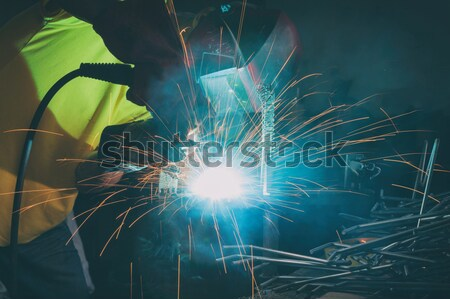 Lassen metaal man bescherming masker bouw Stockfoto © Amaviael