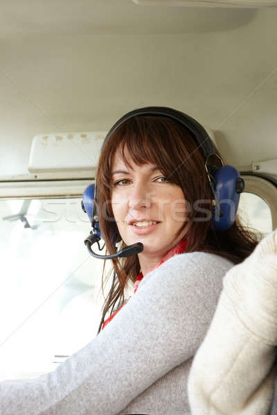 Woman pilot in plane Stock photo © Amaviael