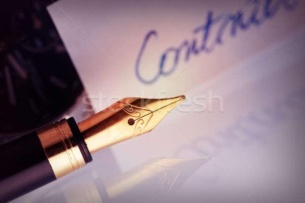 Pen with golden nib Stock photo © Amaviael