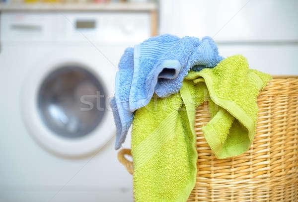 Stock fotó: Kosár · törölközők · koszos · ruházat · vár · szennyes