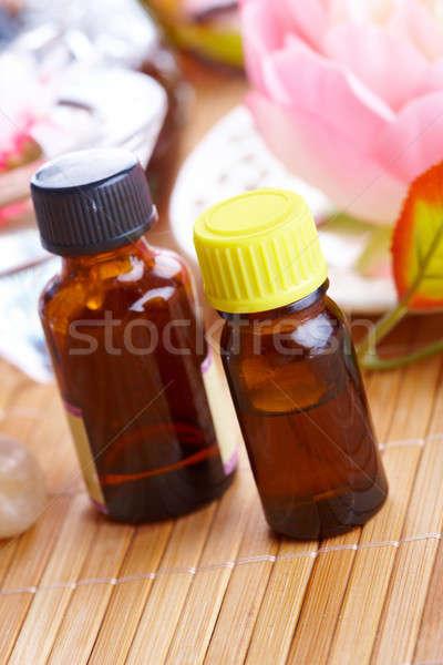 Aromaterápia olaj üvegek alternatív gyógyszer egészséges életmód Stock fotó © Amaviael