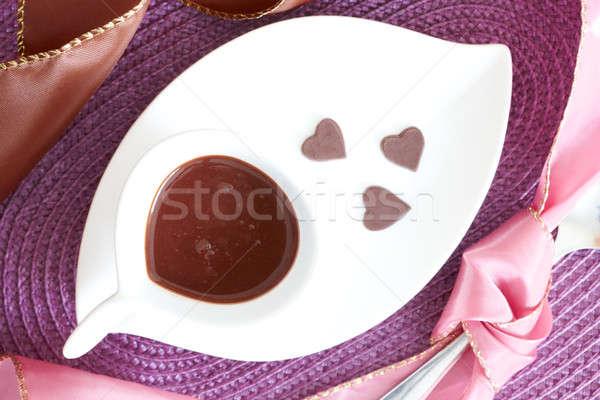 Folyadék csokoládé forró csokoládé kicsi szív alakú Stock fotó © Amaviael