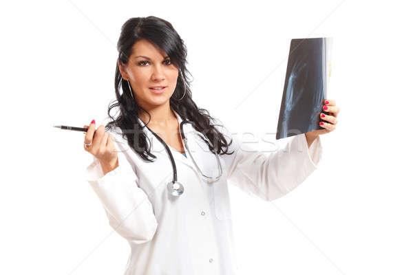 Foto stock: Medicina · mujer · médico · Xray · mirando · nina