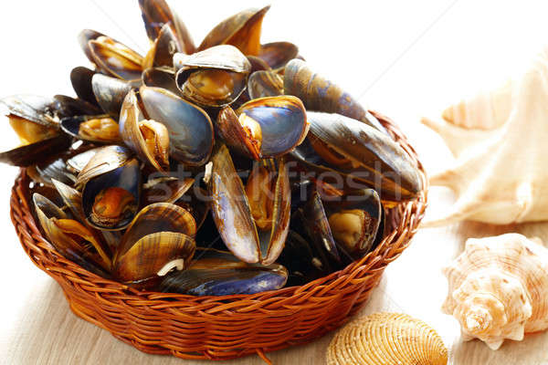 Mussels in basket Stock photo © Amaviael