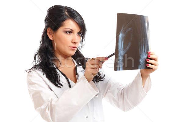 Medicina mujer médico Xray mirando nina Foto stock © Amaviael