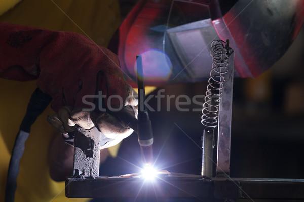Saldatura metal mano costruzione tecnologia industria Foto d'archivio © Amaviael