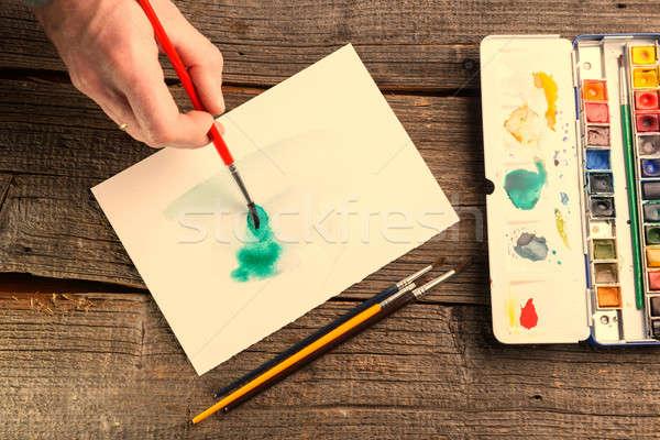 Watercolor artwork Stock photo © Amaviael