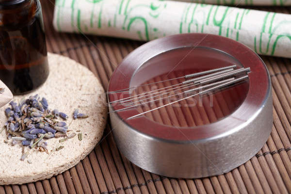 Acupuncture needles, moxa sticks and lavender petals Stock photo © Amaviael
