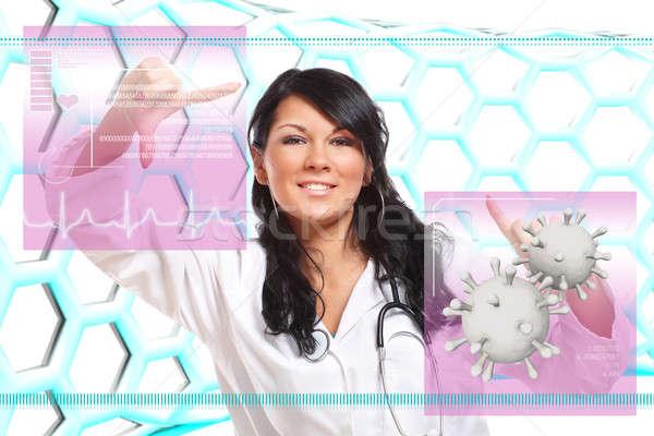Stock fotó: Gyógyszer · orvos · dolgozik · futurisztikus · interfész · orvosi