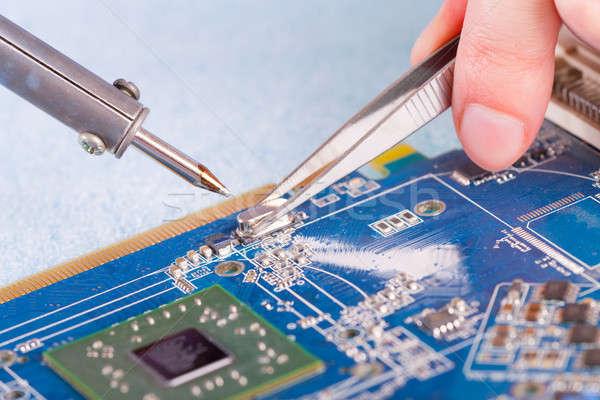 はんだ付け ツール コンピュータ 作業 サービス ストックフォト © Amaviael