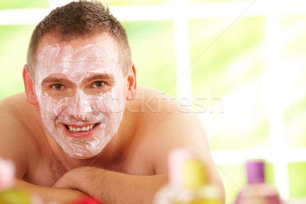 Férfi fürdő maszk boldog pihen napos Stock fotó © Amaviael
