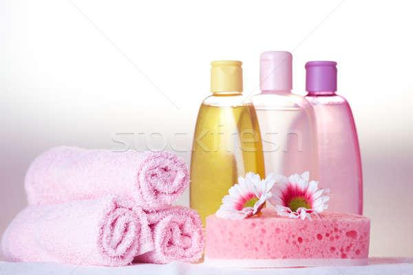 Bano atención cosméticos objetos de oliva champú Foto stock © Amaviael