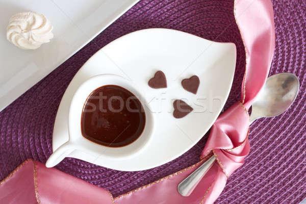 Foto stock: Líquido · chocolate · chocolate · caliente · pequeño · corazón