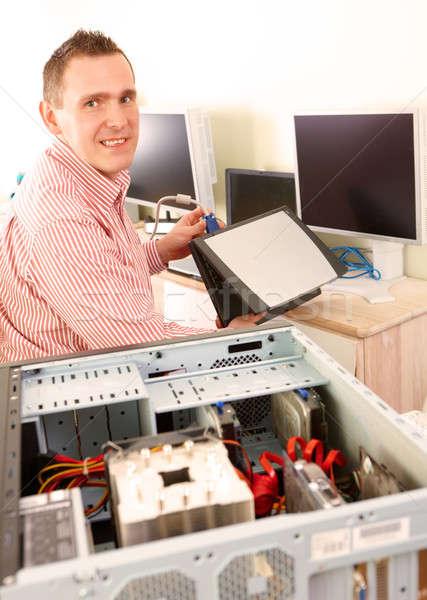 Foto stock: Ordenador · servicio · de · trabajo · portátil · manos