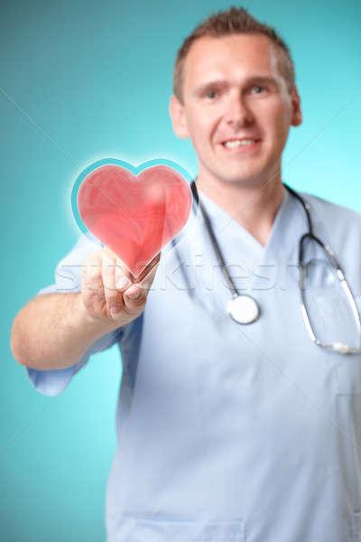 Tıp doktor holografik kalp fütüristik arayüz Stok fotoğraf © Amaviael