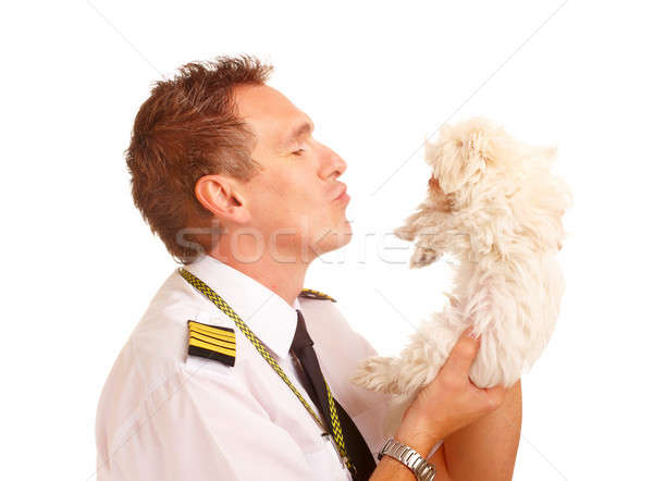 Airline pilot with dog Stock photo © Amaviael