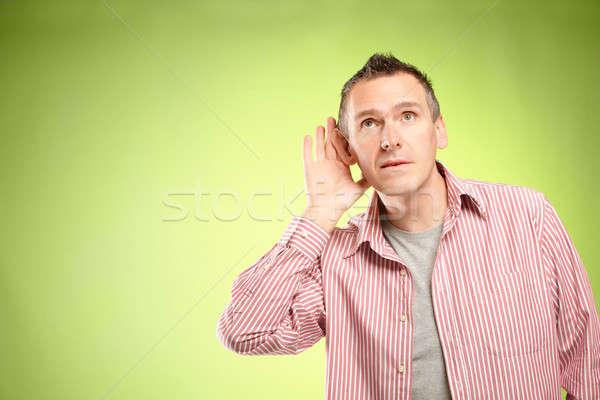 Escuta homem mão ouvido música palma Foto stock © Amaviael