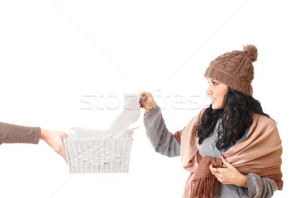 Fiatal nő elvesz papírzsebkendő hideg ki lány Stock fotó © Amaviael