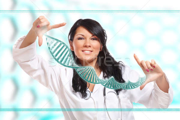 Researcher holding up a DNA strand in the laboratory Stock photo © Amaviael