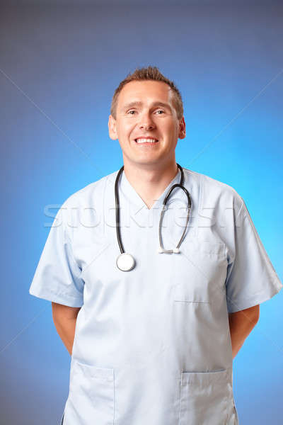 Alegre médico sonriendo médicos estetoscopio feliz Foto stock © Amaviael