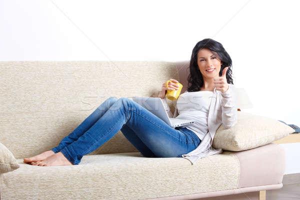 Hermosa relajante sofá portátil taza Foto stock © Amaviael