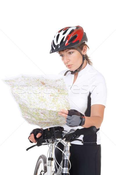 Foto stock: Nina · ciclista · moto · mirando