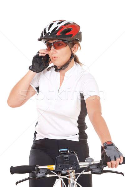 Photo stock: Fille · cycliste · parler · téléphone · jeune · femme