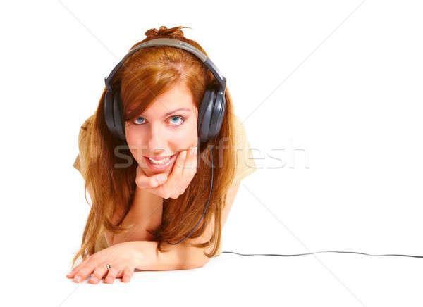 Menina fones de ouvido isolado branco mulher Foto stock © Amaviael