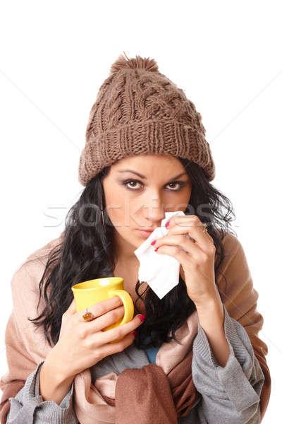 Gyönyörű fiatal nő influenza tünet szomorú tart Stock fotó © Amaviael