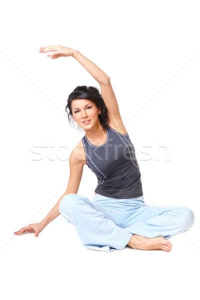 Mulher jovem exercer isolado branco mulher feliz Foto stock © Amaviael