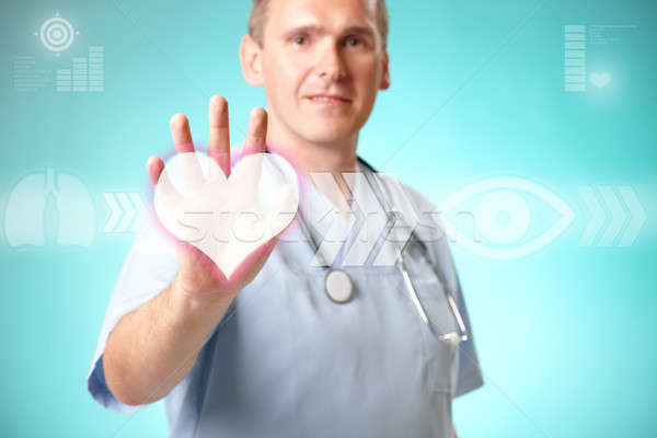 Medicine doctor working with futuristic interface Stock photo © Amaviael
