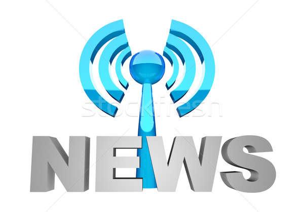 Nieuws uitzending woord station wifi technologie Stockfoto © Amaviael