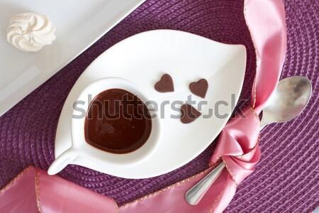 Líquido chocolate chocolate caliente pequeño corazón Foto stock © Amaviael
