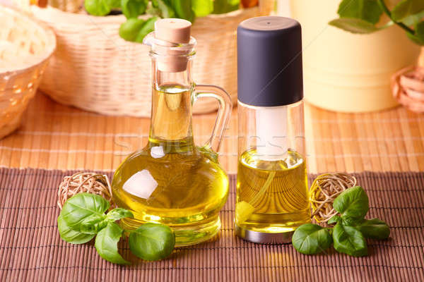 Stock photo: Two bottles with olive oil and grape seed oil