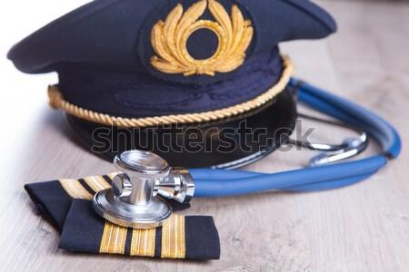 Vizsga közelkép repülőgép pilóta felszerlés kalap Stock fotó © Amaviael