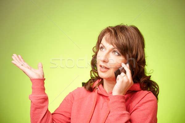 Bela mulher retrato mulher telefone Foto stock © Amaviael