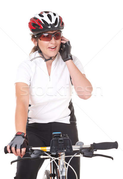 Nina ciclista hablar teléfono Foto stock © Amaviael