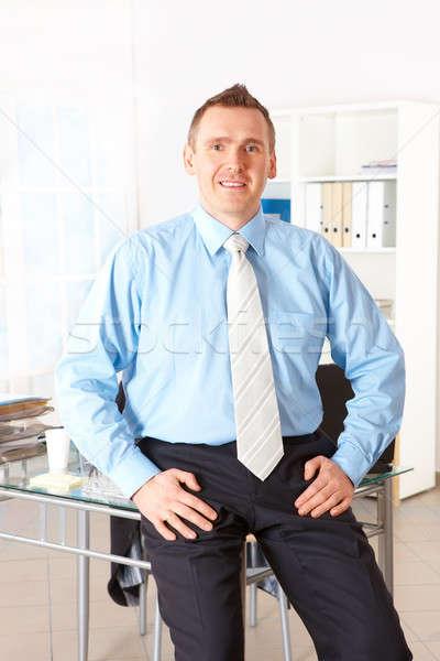 ストックフォト: 幸せ · ビジネスマン · ラップトップコンピュータ · 電話